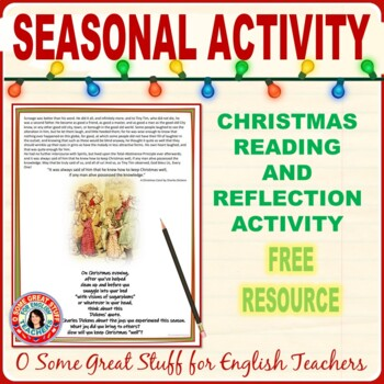 Christmas Activities Scrooge--Christmas Reflection Activity