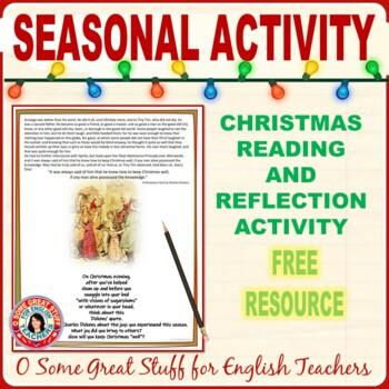 A CHRISTMAS CAROL Christmas Reflection Writing Activity