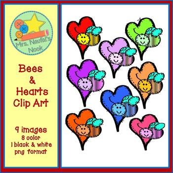 Bees & Hearts Clip Art