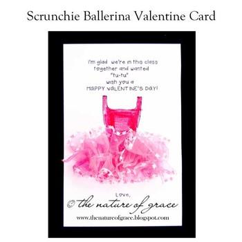 Scrunchie Ballerina Party Favor and Ballerina Valentine Card