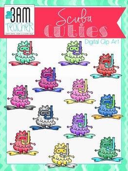 Scuba Cuties: Cute Monster Clip Art Set