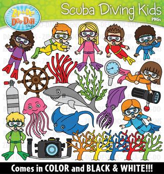 Scuba Diving Kids Clipart Set {Zip-A-Dee-Doo-Dah Designs}