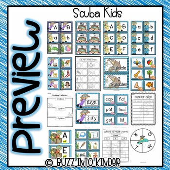 Scuba Kids- Ocean Fun: Literacy and Math Centers!