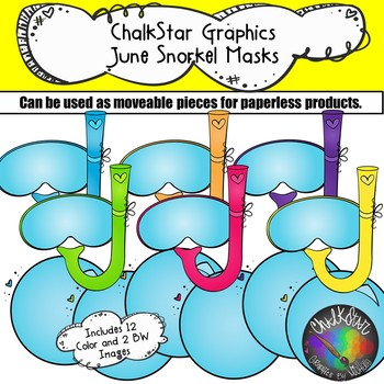 Scuba Masks June Clip Art –Chalkstar Graphics