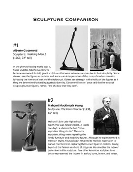 Sculpture Comparison Worksheet
