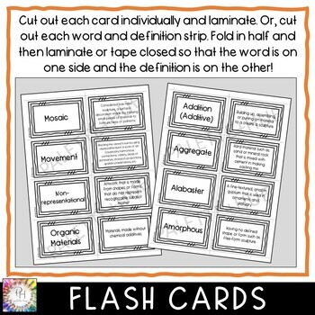 Sculpture and 3-D Flash (Study) Cards and Vocabulary Review Games