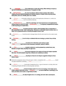 Sculpture worksheet and answer key-40 Questions-JH-HS-36 Vocab-Study Guide
