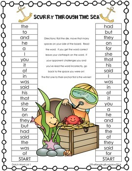 Sight Word Gameboards for Dolch Word Lists 1 - 11