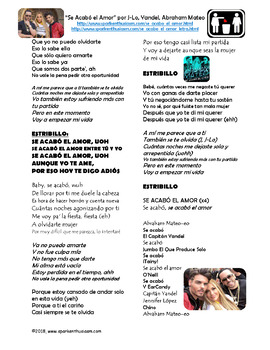 Se Acabó el Amor - Spanish Song Lyrics & Activities Unit - J-Lo, Yandel, Mateo