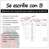 Se Escribe con B. Spelling activities in Spanish. (ortografía en español)