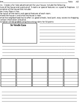 Se Vende Casa Stroll and Writing activity to practice house vocabulary
