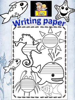 Writing Paper - Ocean Themed - Sea - black and white