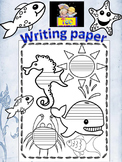 Summer Writing Paper Ocean Themed Sea black and white dist