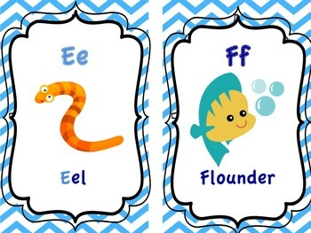 "Sea Animal Alphabet Flashcards (5x7"")"