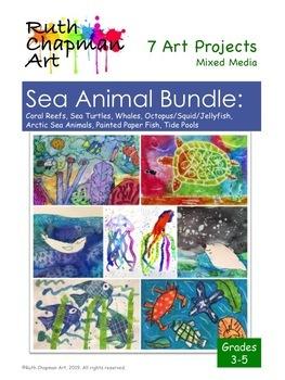 Sea Animal Bundle: 7 Art Lessons for Grades 3-6