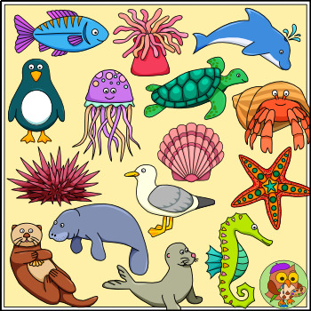 Sea Animal Clip Art - Color and B/w Ocean Animals