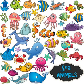 Sea Animal Clip Art Fish Element - Colored and B/W Outlines