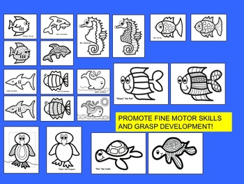 Sea Animal Coloring Skills Activities for Fine Motor Development