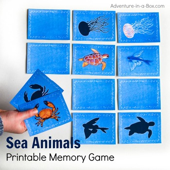 Sea Animal Printable Memory Matching Game