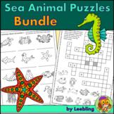 Sea Animal Puzzle Activities Bundle – Ocean Animal Crosswords, Word Searches etc