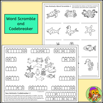 Sea Animal Puzzles - Sea Creature Crossword, Word Search and more