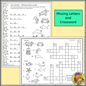 Sea Animal Puzzle Activities - Ocean Animal Crossword, Word Search and more