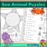 Sea Animal Puzzle Activities - Ocean Animal Crossword, Wor