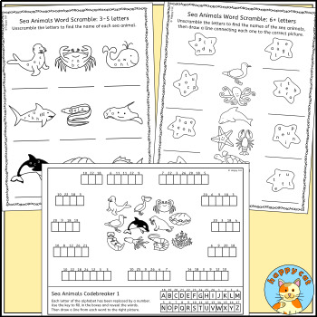 Sea Animal Puzzles - crossword, word search and more