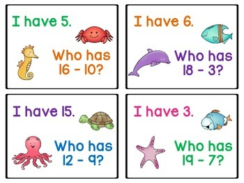Sea Animal Subtraction - I Have ... Who Has?