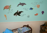 Sea Animal Wall Decorations with Fish, Turtle, Whale, and Dolphin