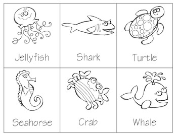 Sea Animals 3part Cards