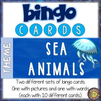 Sea Animals ESL Activities Bingo Cards
