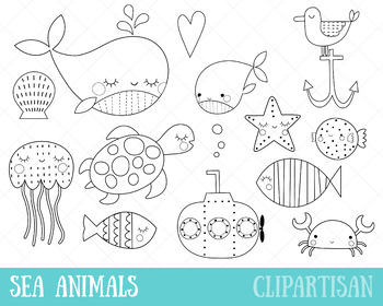 Sea Animals Clip Art, Ocean Animals