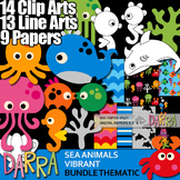 Sea Animals Clip Art Bundle (color, black and white, digital papers)