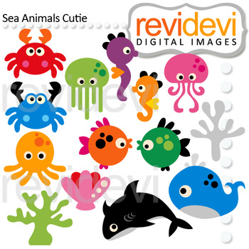 Sea Animals Clip Art Bundle (color, black and white, digital papers)
