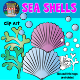 Sea Animals Clip Art - Sea Shells, Bubbles and Sea Weed