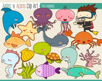 Sea Animals Clip Art - color and outlines