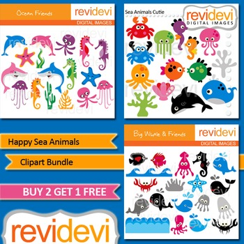 Sea Animals Clip art (3 packs)