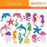 Sea Animals Clip art (dolphin, shark, sea horse, jellyfish, starfish)