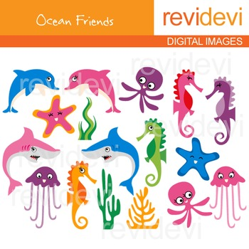 Sea Animals Clip art (dolphin, shark, sea horse, jellyfish, starfish)