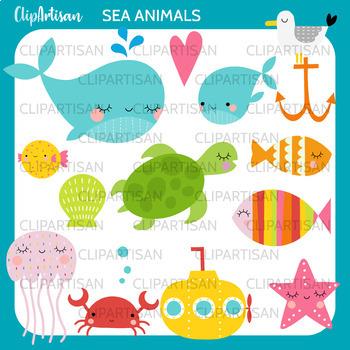 Ocean baby. Sea animals clip art