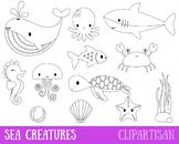 Sea Animals Clipart, Marine Animals Coloring Page