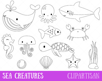 Sea Animals Clipart Marine Animals Coloring Page By Clipartisan