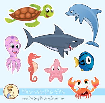 Sea Animals Clipart, Underwater Life, Cute Characters, Deep Ocean