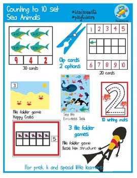 Sea Animals Counting to 10. 6 hands-on resources Set.