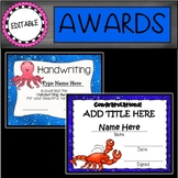 EDITABLE Sea Animals End of the Year Awards