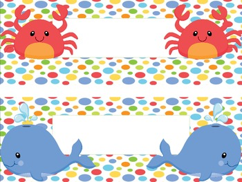Sea Animals Nametags / Labels