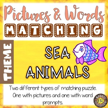 Sea Animals Vocabulary Matching Puzzles