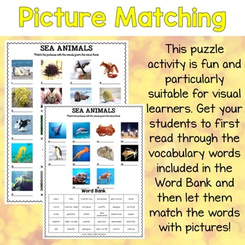 Sea Animals ESL Activities Picture and Definition Matching Puzzles