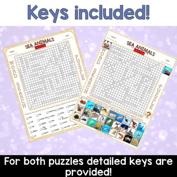 Sea Animals Word Search Puzzles